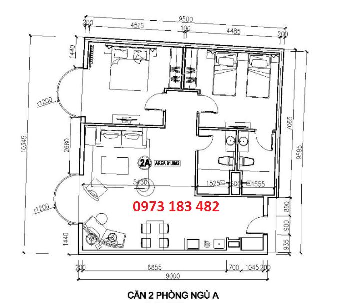 Thiết kế căn hộ 2 phòng ngủ FLC Hạ Long Grand Hotel