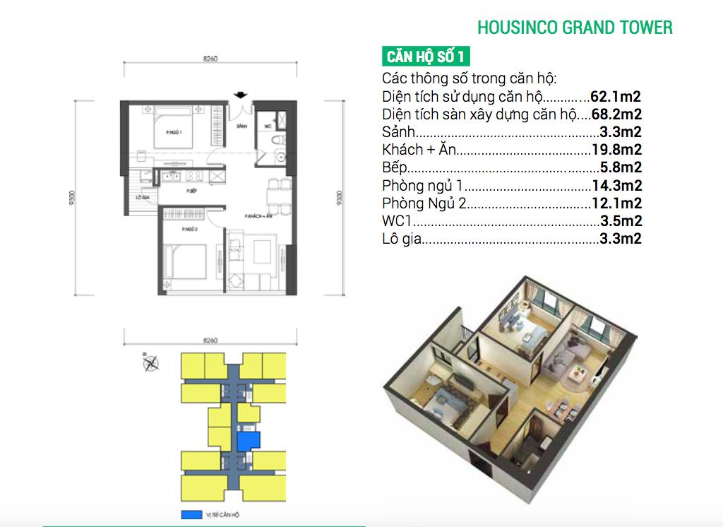 Thiết kế căn hộ số 1 chung cư Housinco Nguyễn Xiển