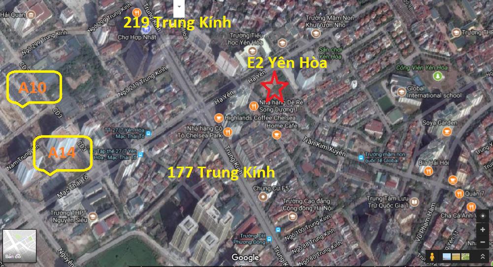 Vị trí chung cư E2 Trần Kim Xuyến Yên Hòa
