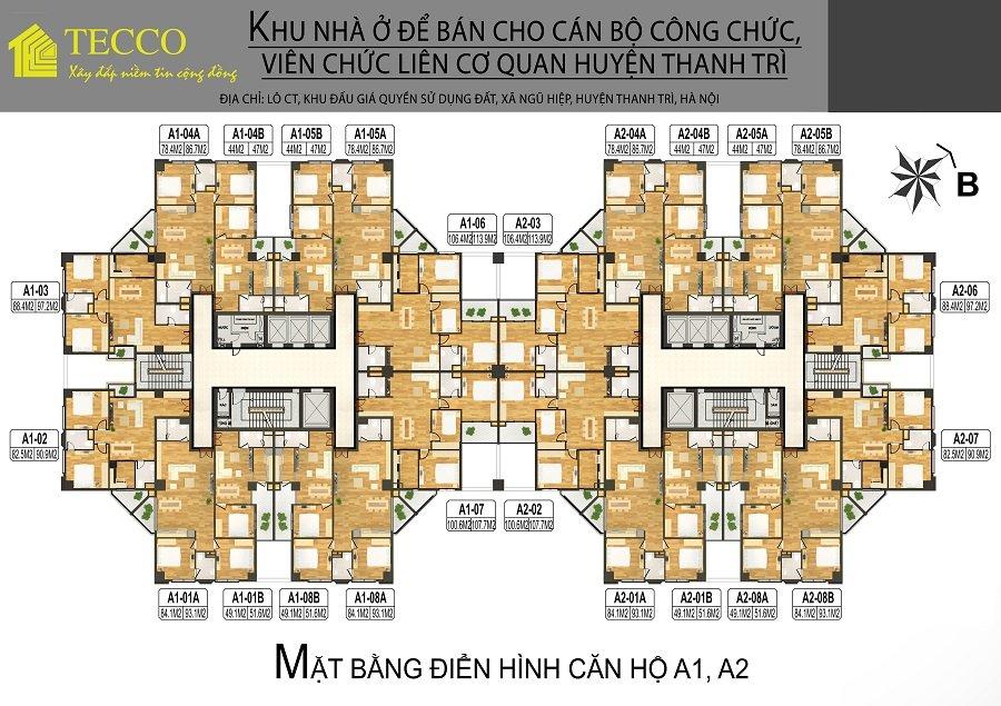 Mặt bằng tòa A Tecco Complex Tứ Hiệp