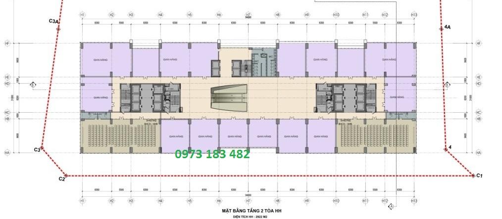 mặt bằng tầng 2 chung cư thương mại khu nhà ở Bộ công an