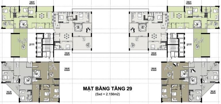 Mặt bằng tầng 29 chung cư tecco tower tứ hiệp