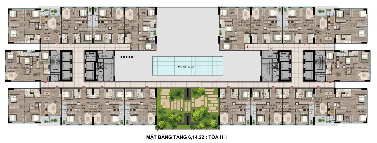 Mặt bằng tầng 6- 14 - 22 tòa thương mại khu nhà ở xã hội Cổ nhuế