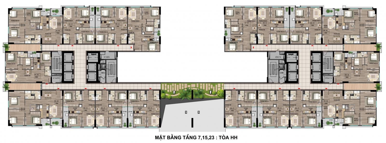 Mặt bằng tầng 7-15 - 23 tòa thương mại khu nhà ở xã hội Cổ nhuế