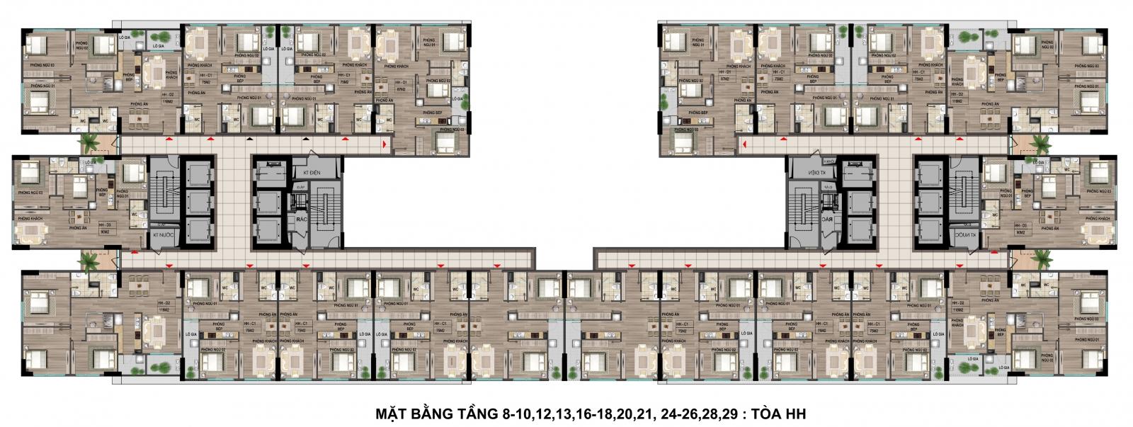 Mặt bằng tầng 8-10-12 tòa thương mại khu nhà ở xã hội Cổ nhuế