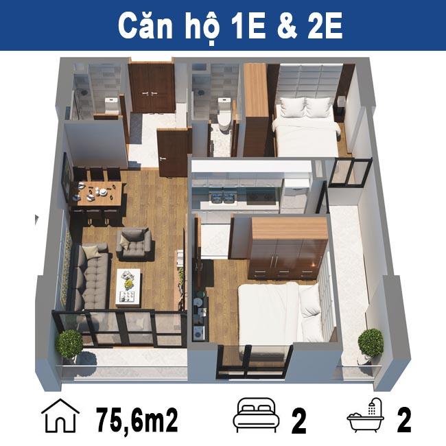 Thiết kế căn hộ E chung cư Tecco Tower Tứ Hiệp