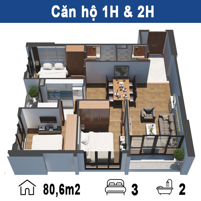 Thiết kế căn hộ H Tecco Tower Thanh trì