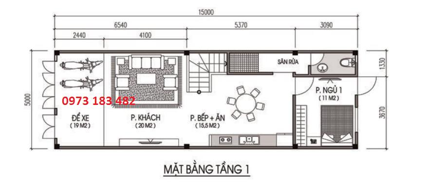 Thiết kế mặt bằng tầng 1 liền kề Phố Nối House
