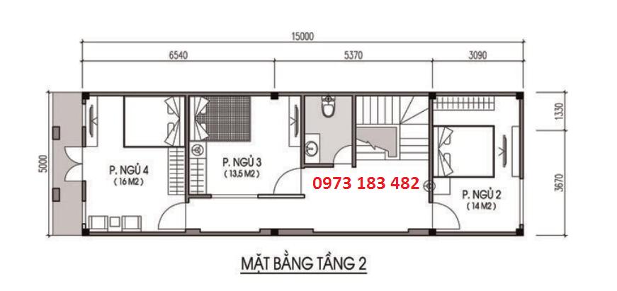 Thiết kế mặt bằng tầng 2 liền kề Phố Nối House