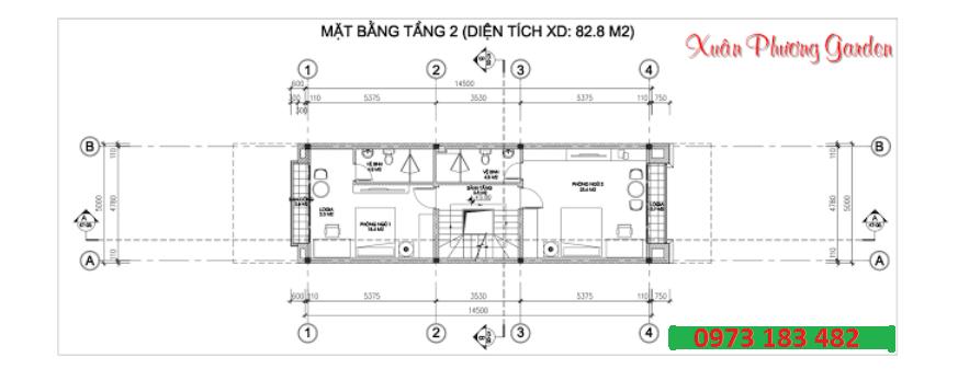 Thiết kế căn shophouse Xuân Phương garden