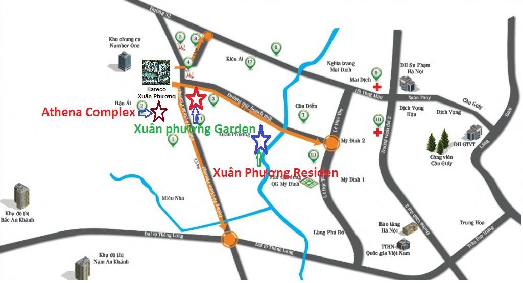 Vị trí dự án Xuân Phương Garden