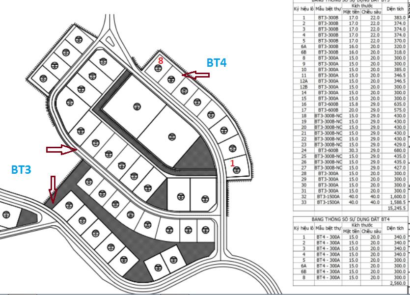 mặt bằng BT3 - BT4 biệt thự FLC Hạ Long