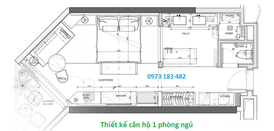 Thiết kế căn hộ condotel 1 phòng ngủ La Luna Nha Trang