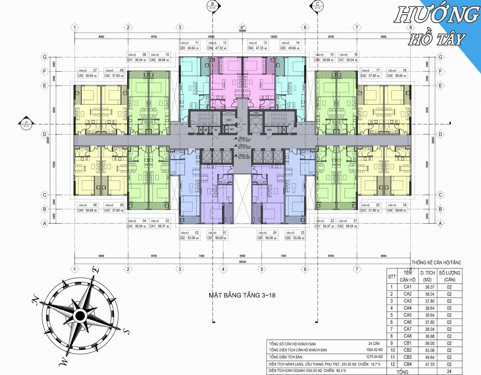 Mặt bằng tầng 3-18 dự án D'.el Dorado Phú Thanh Tân Hoàng Minh