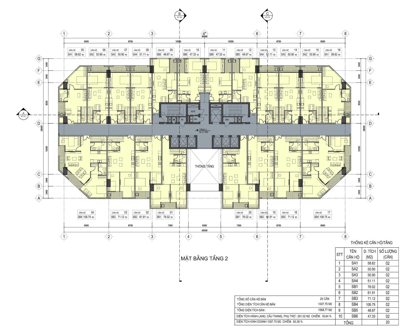 Mặt bằng tầng 2 dự án D'.el Dorado Phú Thanh Tân Hoàng Minh