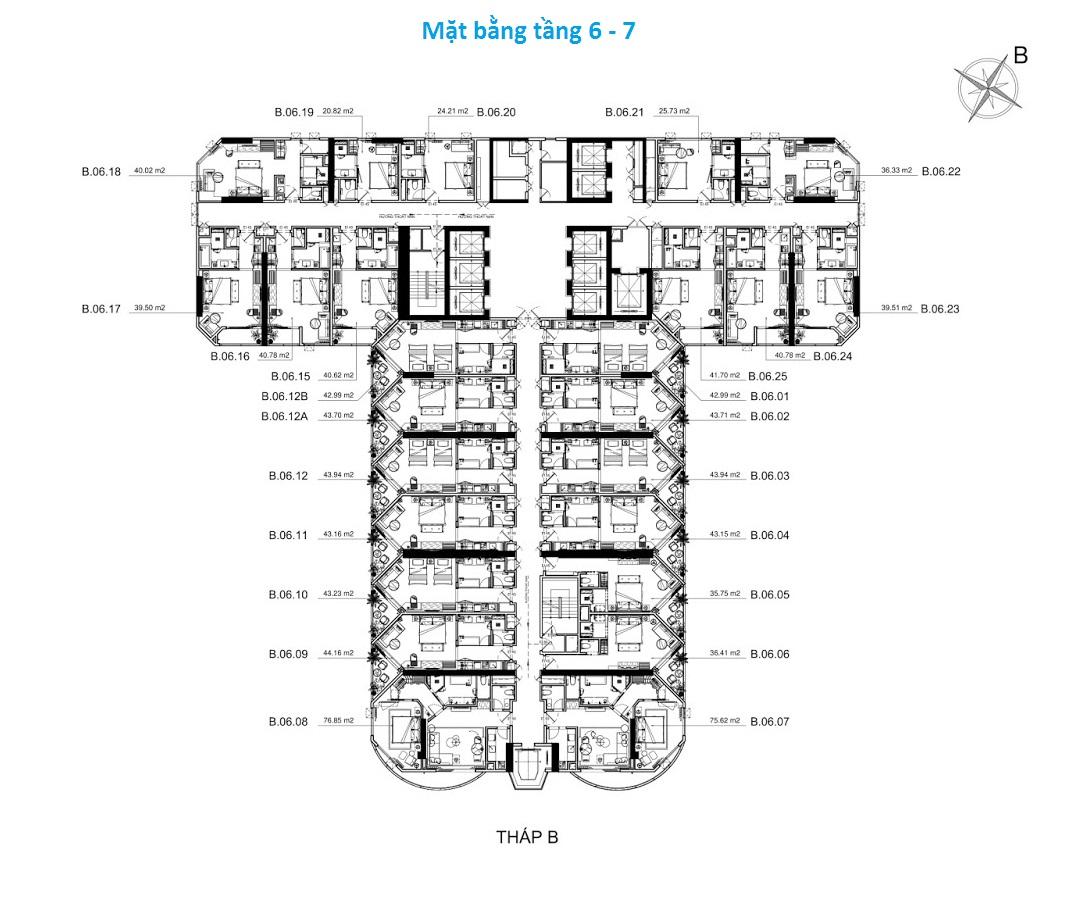 Mặt bằng tầng 6 - 7 tòa B La Luna Resort Nha Trang