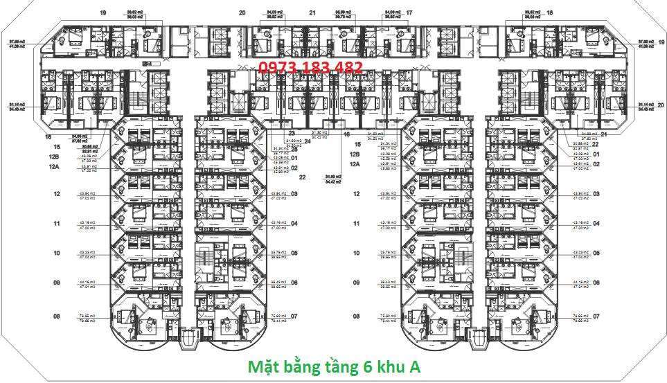 Mặt bằng tầng 6 tòa A La Luna Resort Nha Trang