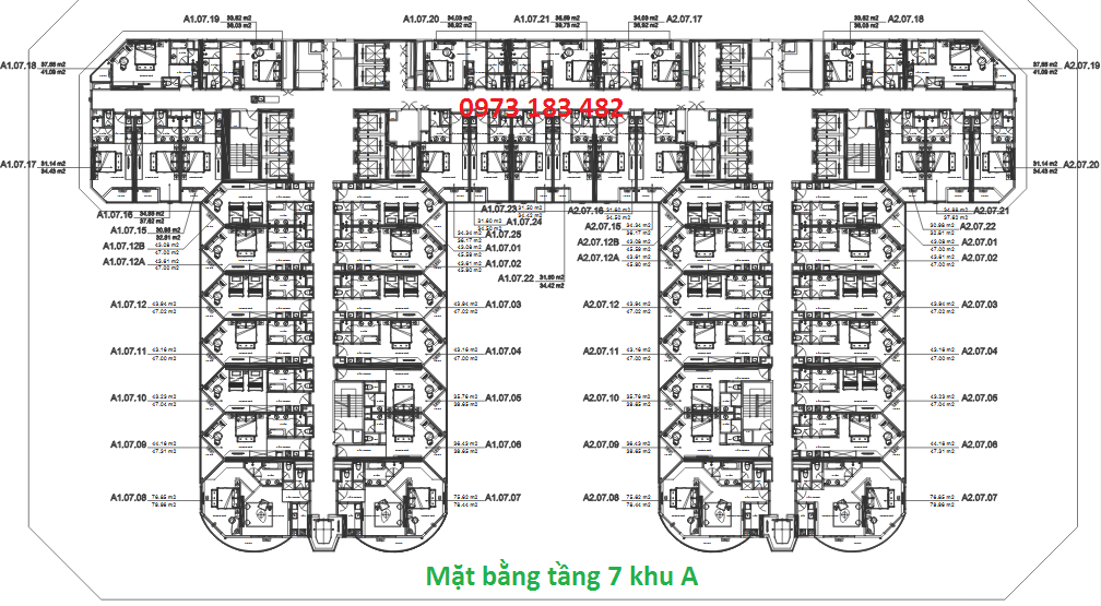 Mặt bằng tầng 7 tòa A La Luna Resort Nha Trang