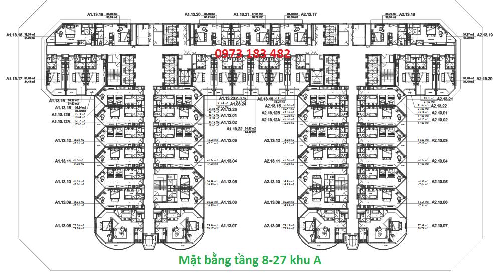 Mặt bằng tầng 8 - 27 tòa A La Luna Resort Nha Trang