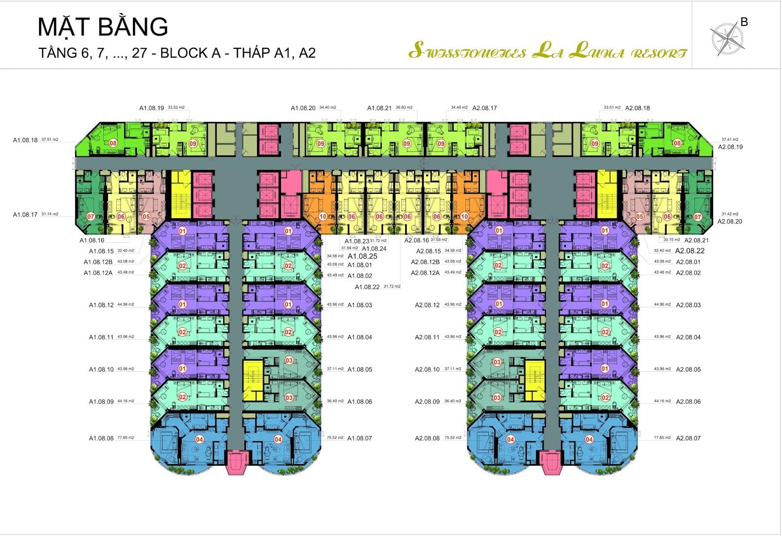 Mặt bằng tòa A dự án La Luna Resort Nha Trang