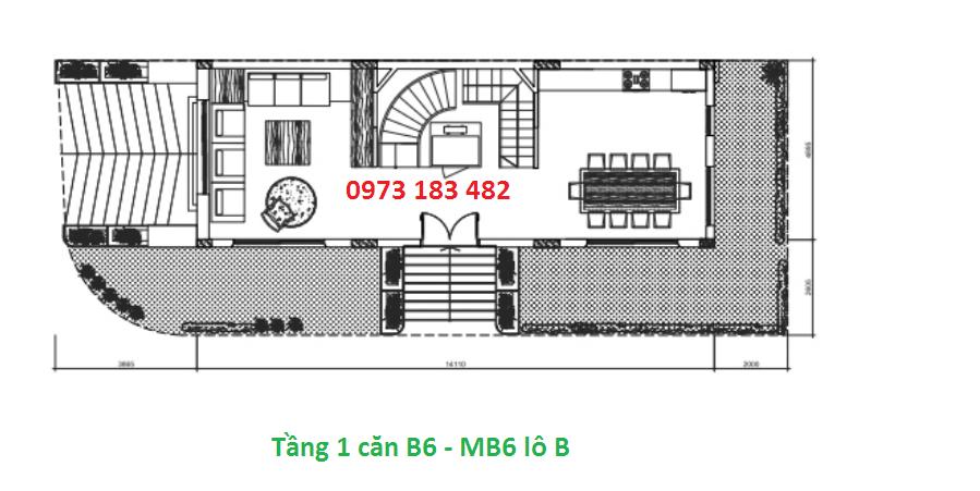 Thiết kế tầng 1 mẫu b6 biệt thự Sunshine city