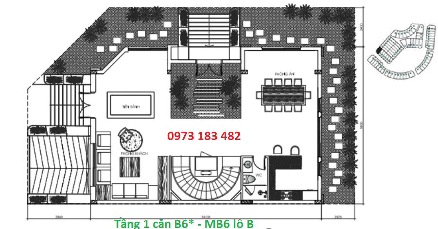 Thiết kế tầng 1 biệt thự B6* Sunshine City