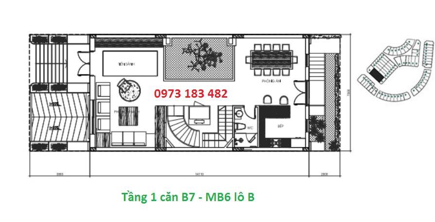 Thiết kế tầng 1 biệt thự B7 Sunshine City