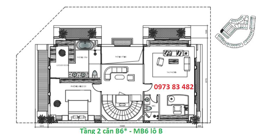 Thiết kế tầng 2 biệt thự B6* Sunshine City