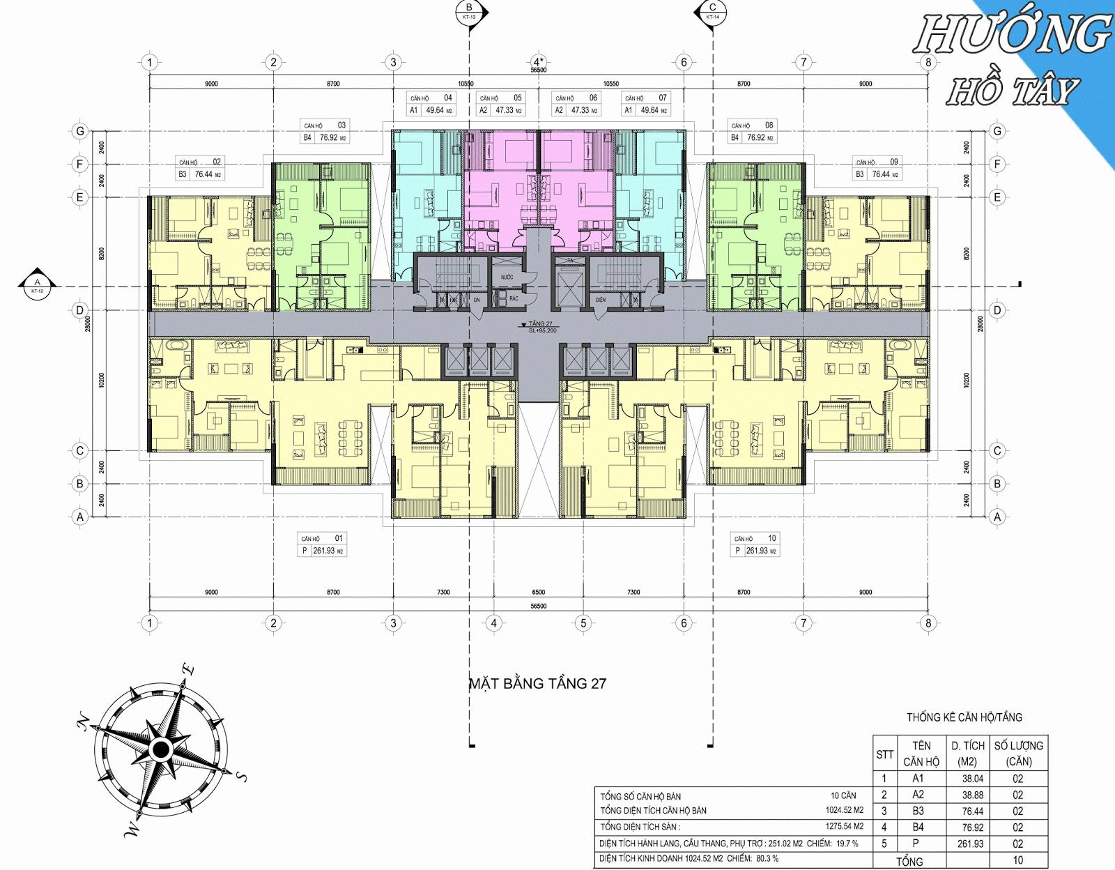 Mặt bằng tầng 27 dự án D'.el Dorado Phú Thanh Tân Hoàng Minh