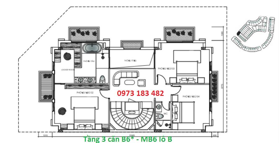 Thiết kế tầng 3 biệt thự B6* Sunshine City
