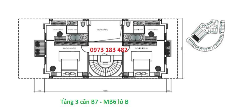 Thiết kế tầng 3 biệt thự B7 Sunshine City