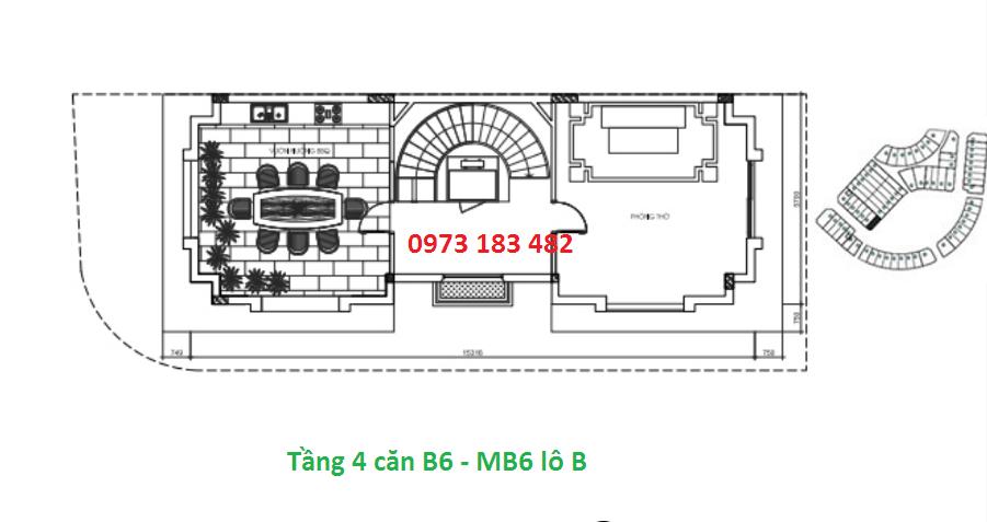 Thiết kế tầng 4 mẫu b6 biệt thự Sunshine city