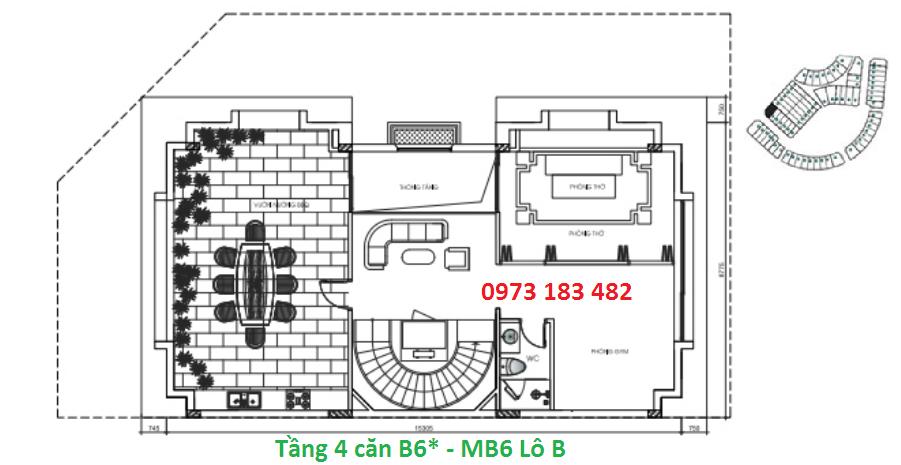 Thiết kế tầng 4 biệt thự B6* Sunshine City