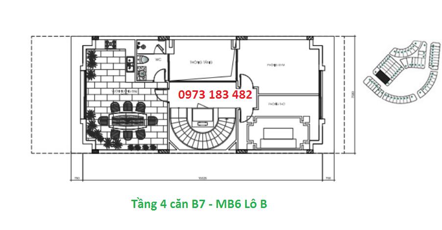 Thiết kế tầng 4 biệt thự B7 Sunshine City