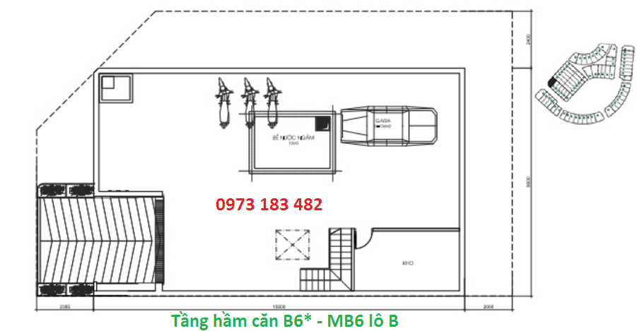 Thiết kế tầng hầm căn B6* Sunshine City