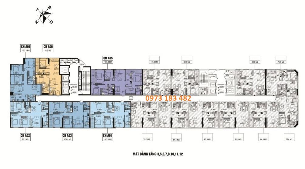 Mặt bằng tầng 3 - 12 dự án B6 Giảng Võ