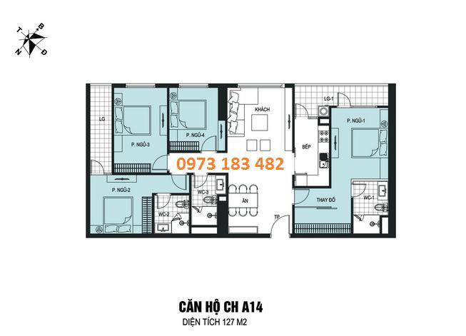 Thiết kế căn hộ 4 phòng ngủ chung cư B6 Giảng Võ