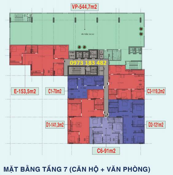 Thiết kế mặt bằng tầng 7 chung cư X1 26 Liễu Giai