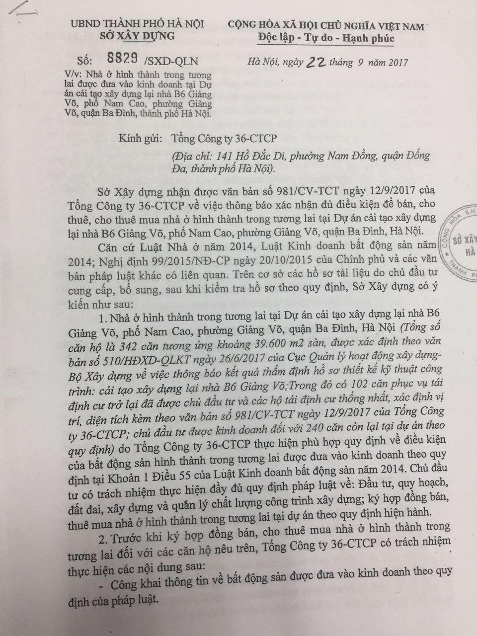Pháp lý dự án chung cư B6 Giảng Võ