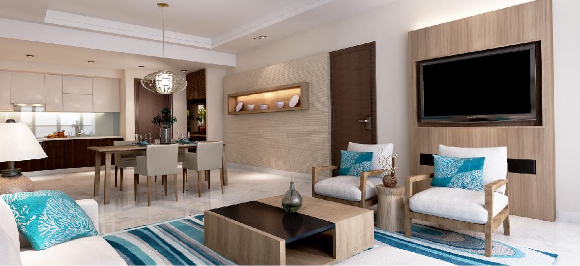 Phòng khách căn hộ Beau Rivage Nha Trang