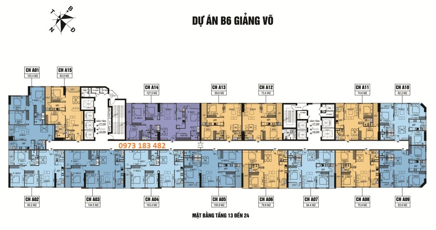 Mặt bằng tầng 13 - 14 chung cư B6 Giảng Võ