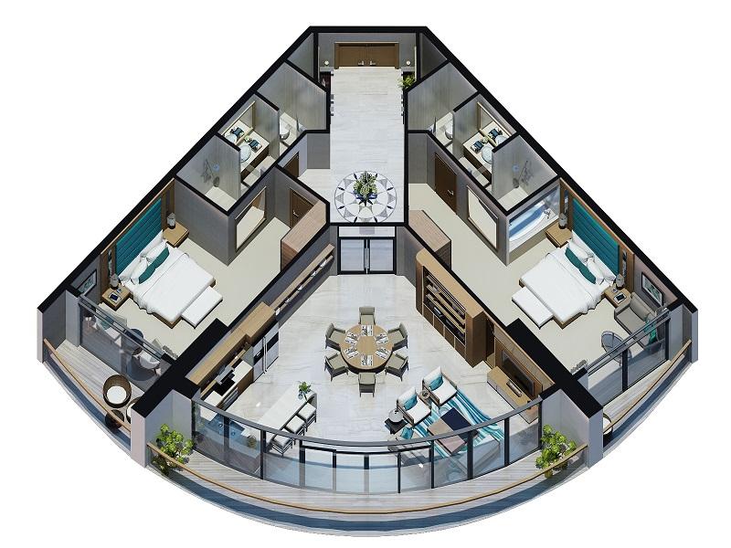 Thiết kế căn 2 phòng ngủ Beau Rivage Nha Trang