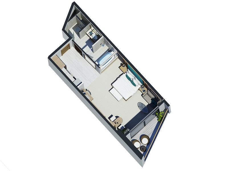 Thiết kế căn 1 phòng ngủ Beau Rivage Nha Trang