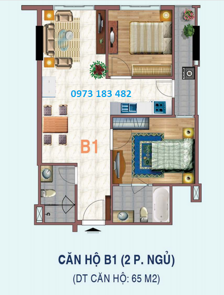 Thiết kế căn hộ 2 phòng ngủ dự án Liếu Giai tower