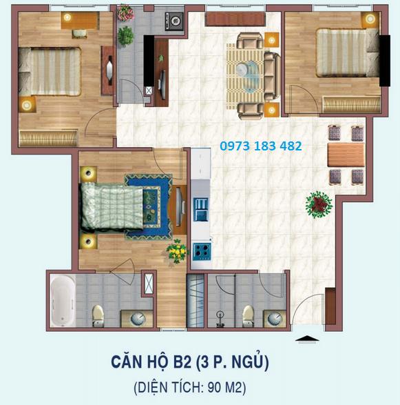 Thiết kế căn hộ 3 phòng ngủ dự án Liếu Giai tower