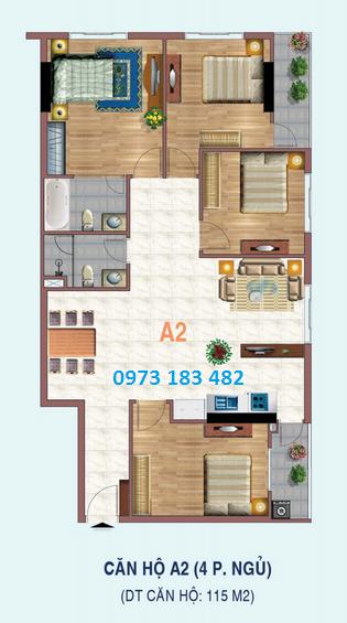 Thiết kế căn hộ 4 phòng ngủ dự án Liếu Giai tower