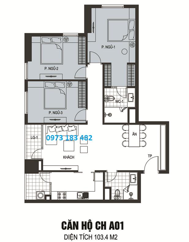 Thiết kế căn hộ A01 chung cư B6 Giảng Võ