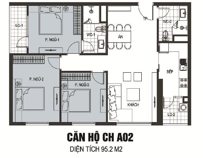Thiết kế căn hộ A02 chung cư B6 Giảng Võ