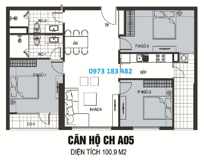 Thiết kế căn hộ A05 chung cư The Golden Armor