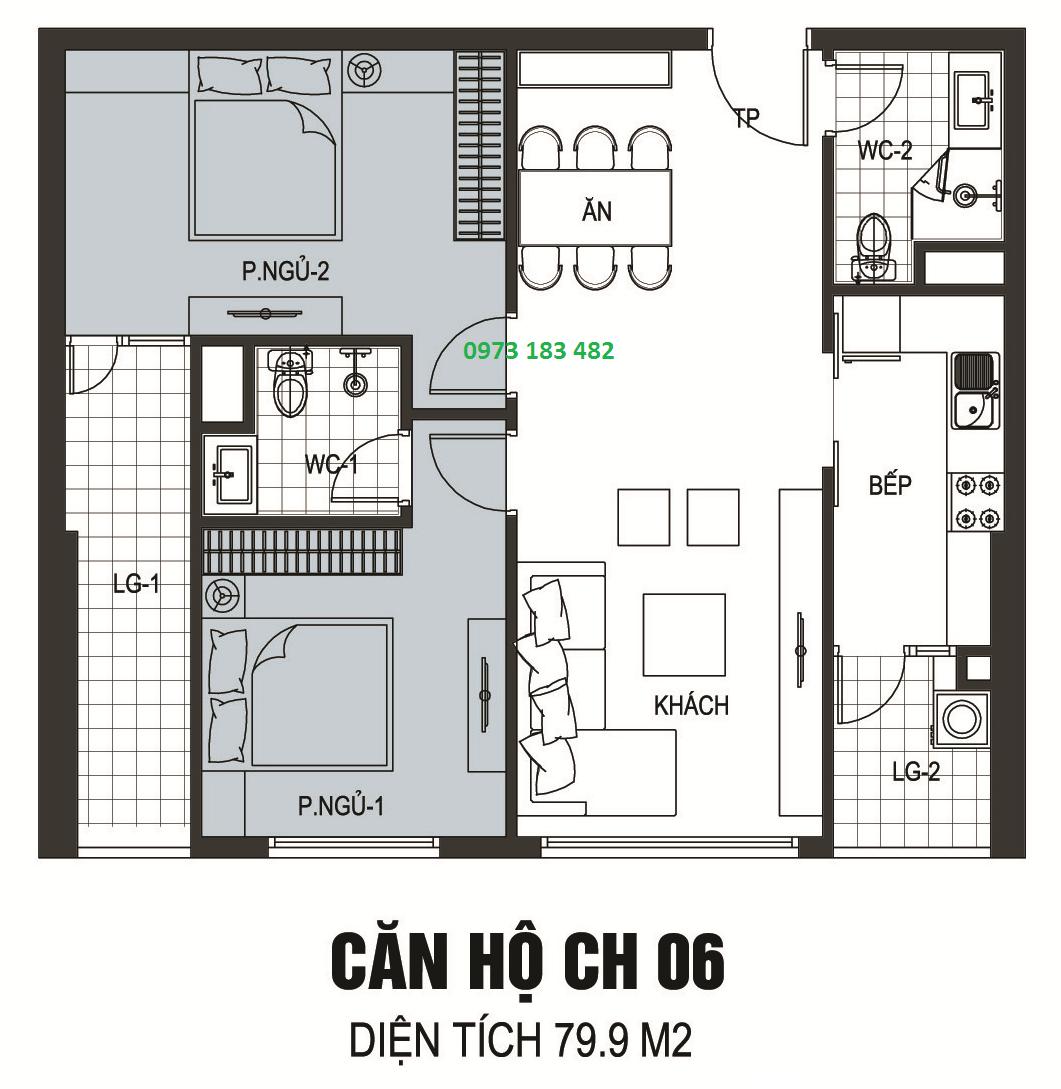 Thiết kế căn hộ 2 phòng ngủ chung c B6 Giảng Võ A